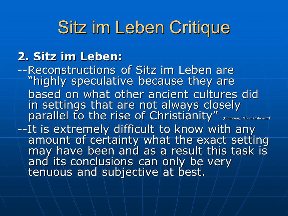 Sitz im Leben Critique 2.