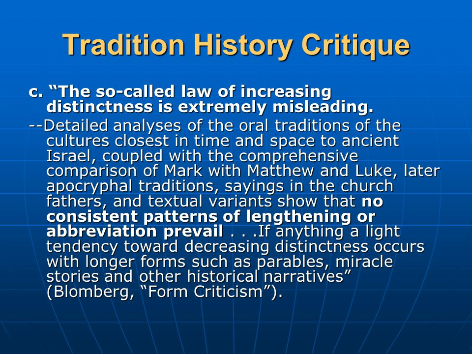 Tradition History Critique c.