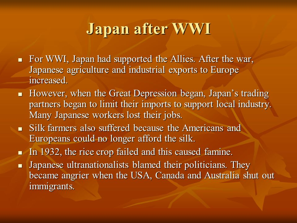 In order to obtain more raw materials and markets for Japanese products, Japan invaded Manchuria in 1931.
