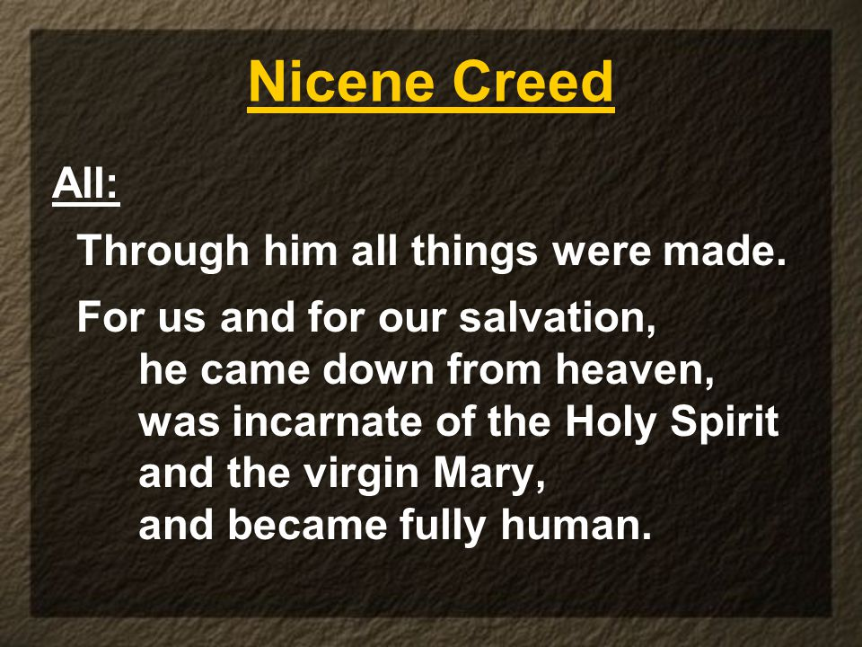 Nicene Creed All: Through him all things were made.