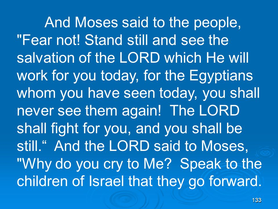 133 And Moses said to the people, Fear not.