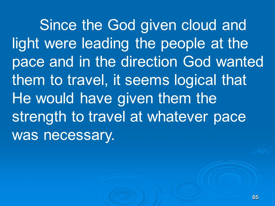65 Since the God given cloud and light were leading the people at the pace and in the direction God wanted them to travel, it seems logical that He would have given them the strength to travel at whatever pace was necessary.