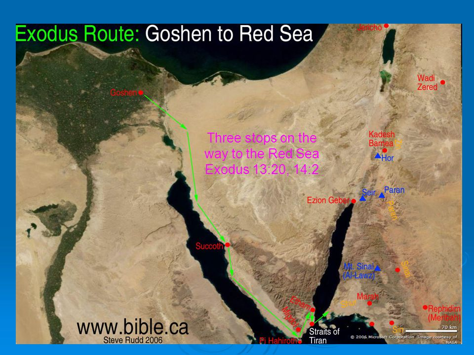 95 Three stops on the way to the Red Sea Exodus 13:20, 14:2