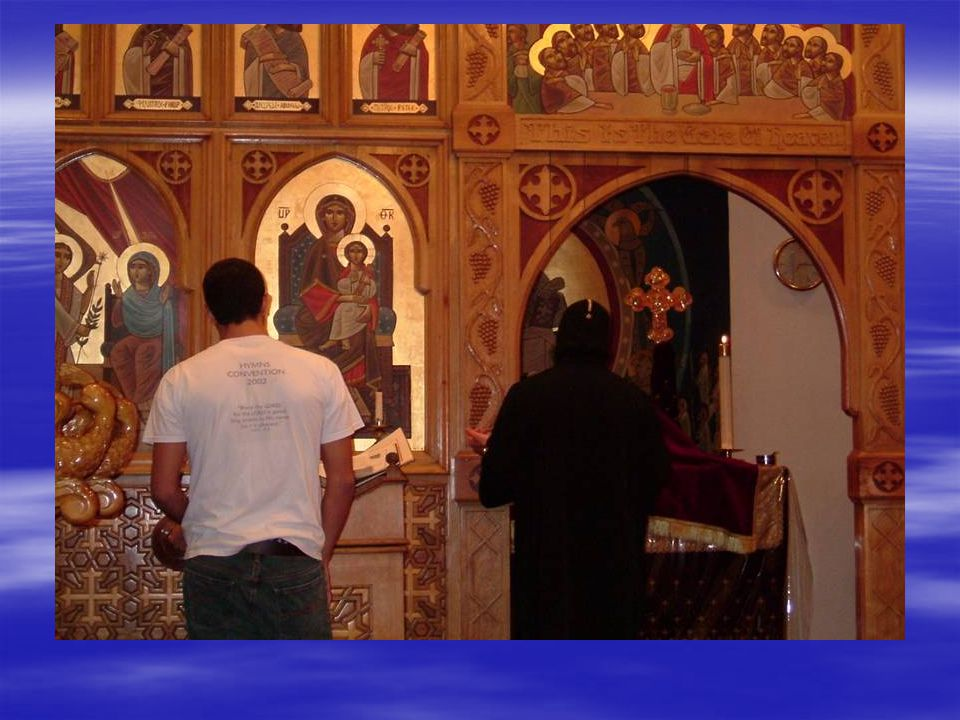  After offering incense before the icons to the North of the sanctuary the priest proceeds Westward among the congregation, offering incense and blessing them
