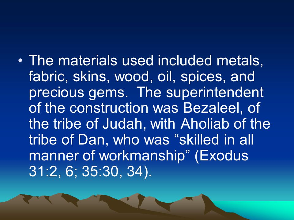 The materials used included metals, fabric, skins, wood, oil, spices, and precious gems.