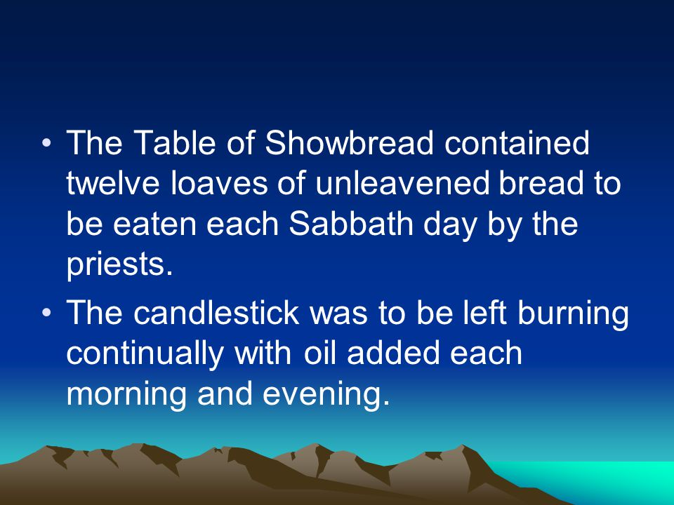The Table of Showbread contained twelve loaves of unleavened bread to be eaten each Sabbath day by the priests.