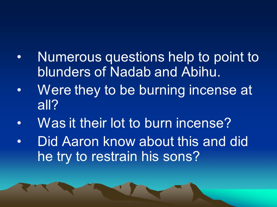 Numerous questions help to point to blunders of Nadab and Abihu.