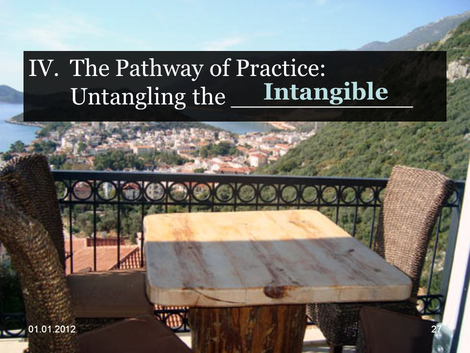 IV.The Pathway of Practice: Untangling the ____________ Intangible