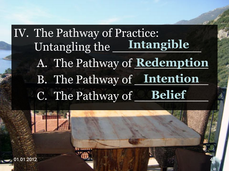 IV.The Pathway of Practice: Untangling the ____________ A.The Pathway of __________ B.The Pathway of __________ C.The Pathway of __________ Intangible Redemption Intention Belief
