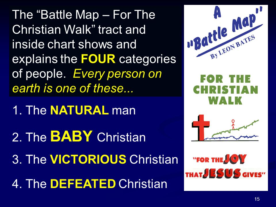 15 The Battle Map – For The Christian Walk tract and inside chart shows and explains the FOUR categories of people.