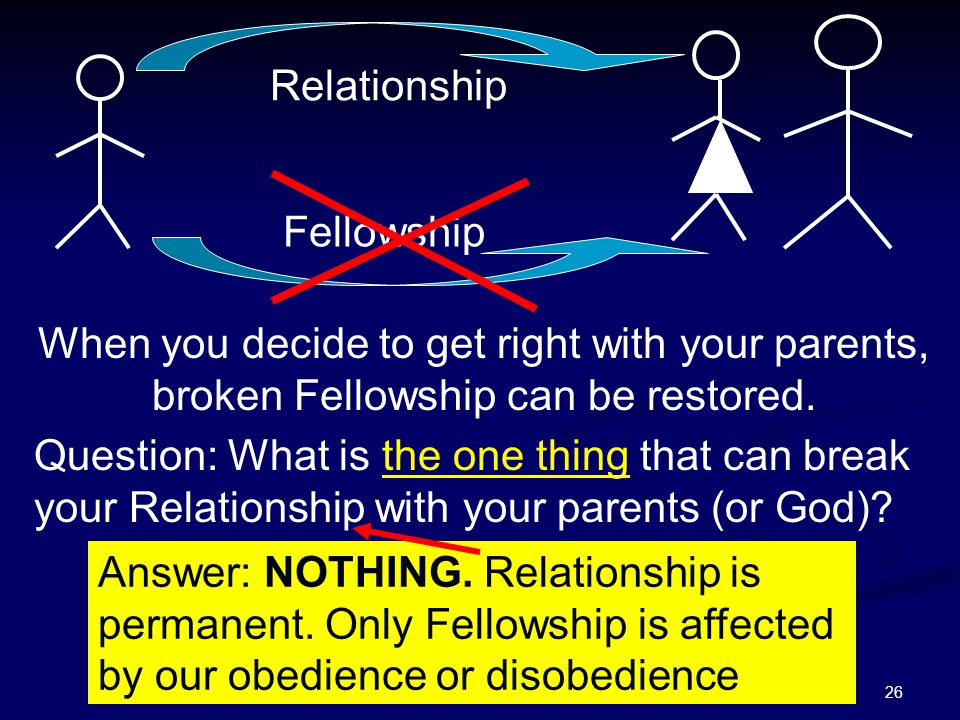 26 Relationship Fellowship When you decide to get right with your parents, broken Fellowship can be restored. Question: What is the one thing that can