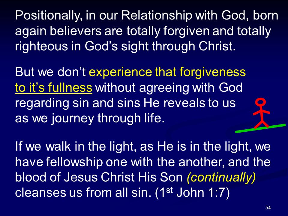 54 Positionally, in our Relationship with God, born again believers are totally forgiven and totally righteous in God's sight through Christ. But we d