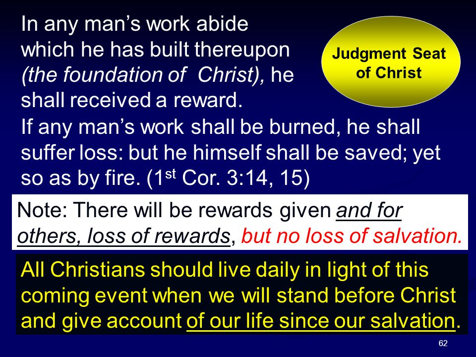 62 Judgment Seat of Christ In any man's work abide which he has built thereupon (the foundation of Christ), he shall received a reward. If any man's w