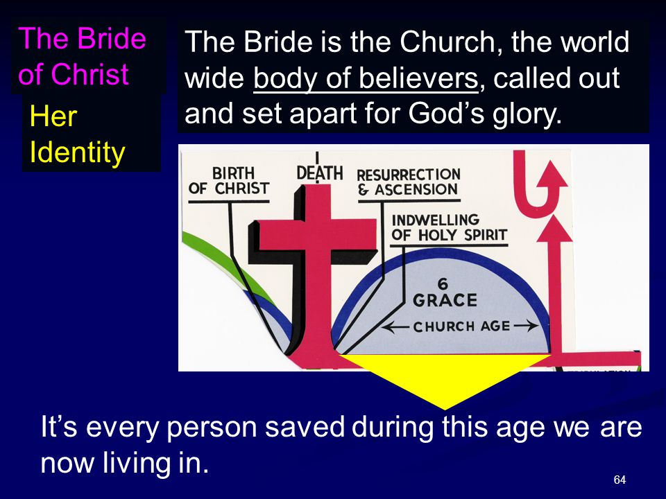64 The Bride of Christ Her Identity The Bride is the Church, the world wide body of believers, called out and set apart for God's glory.