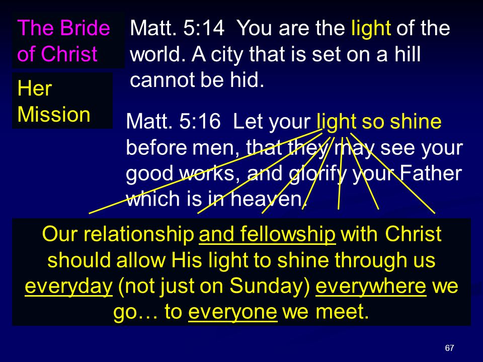 67 The Bride of Christ Her Mission Matt. 5:14 You are the light of the world. A city that is set on a hill cannot be hid. Matt. 5:16 Let your light so