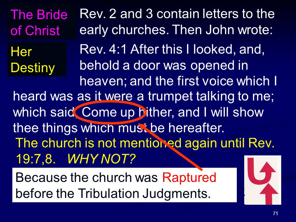 71 The Bride of Christ Her Destiny Rev. 2 and 3 contain letters to the early churches.