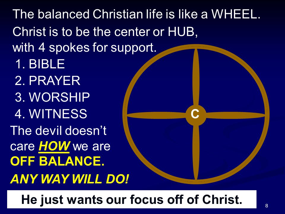 8 The balanced Christian life is like a WHEEL. 1. BIBLE 2. PRAYER 3. WORSHIP 4. WITNESS The devil doesn't care HOW we are OFF BALANCE. ANY WAY WILL DO