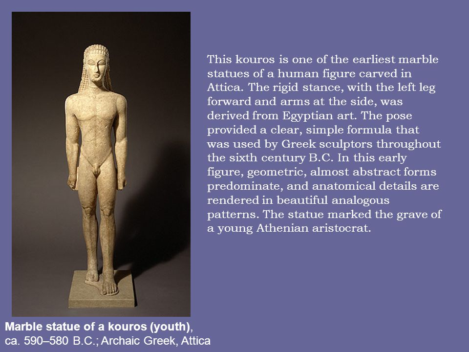 Marble statue of a kouros (youth), ca.