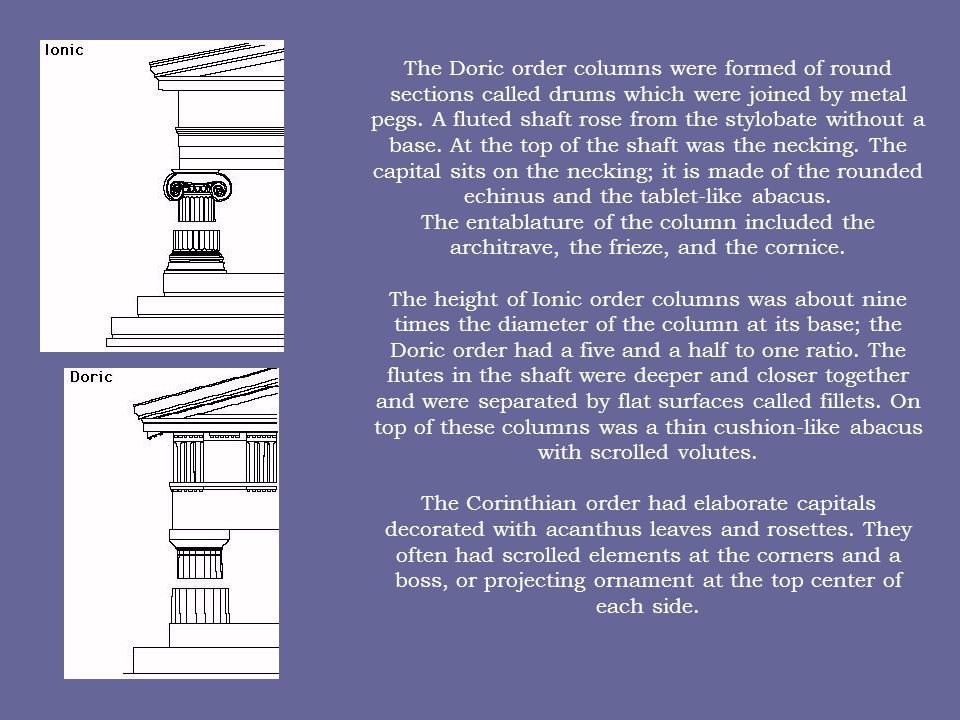 The Doric order columns were formed of round sections called drums which were joined by metal pegs. A fluted shaft rose from the stylobate without a b