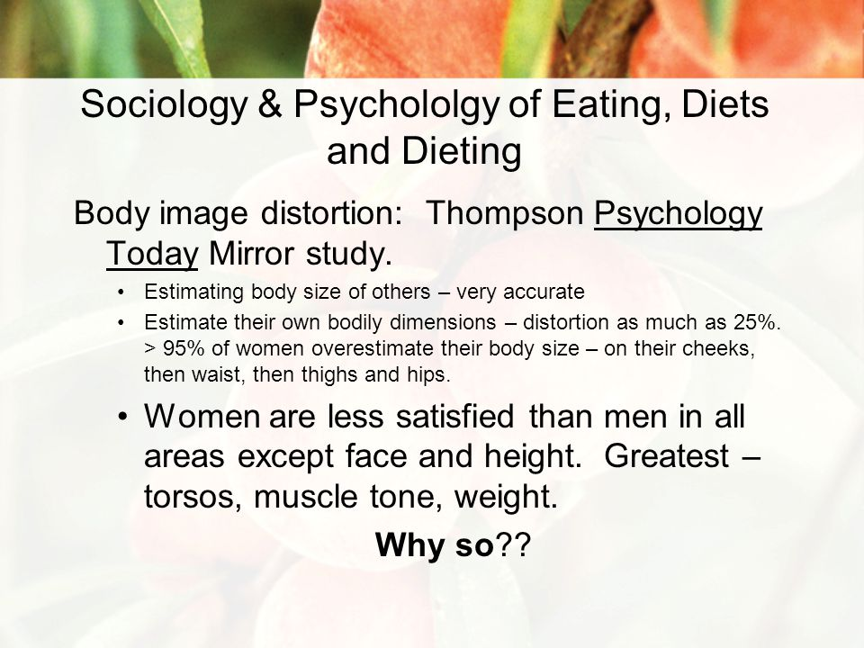 Sociology & Psychololgy of Eating, Diets and Dieting Body image distortion: Thompson Psychology Today Mirror study.