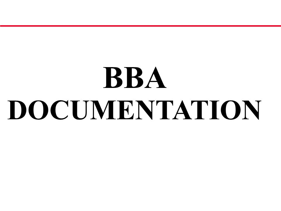 BBA DOCUMENTATION