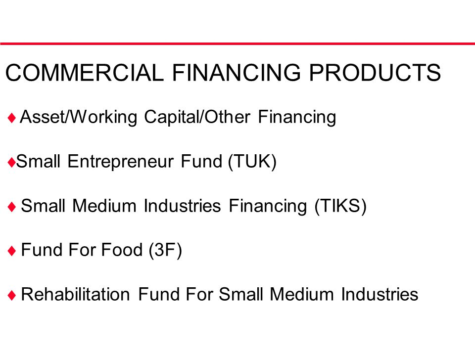 COMMERCIAL FINANCING PRODUCTS  Asset/Working Capital/Other Financing  Small Entrepreneur Fund (TUK)  Small Medium Industries Financing (TIKS)  Fund For Food (3F)  Rehabilitation Fund For Small Medium Industries