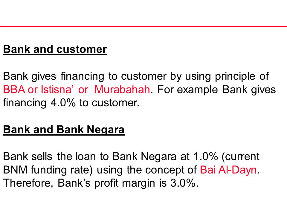 Bank and customer Bank gives financing to customer by using principle of BBA or Istisna' or Murabahah. For example Bank gives financing 4.0% to custom