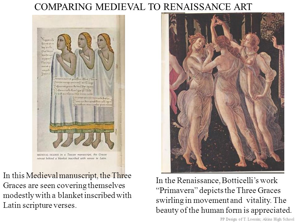 COMPARING MEDIEVAL TO RENAISSANCE ART In this Medieval manuscript, the Three Graces are seen covering themselves modestly with a blanket inscribed wit