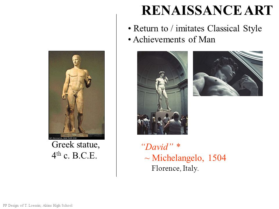 """RENAISSANCE ART Return to / imitates Classical Style Achievements of Man """"David"""" * ~ Michelangelo, 1504 Florence, Italy. PP Design of T. Loessin; Akin"""