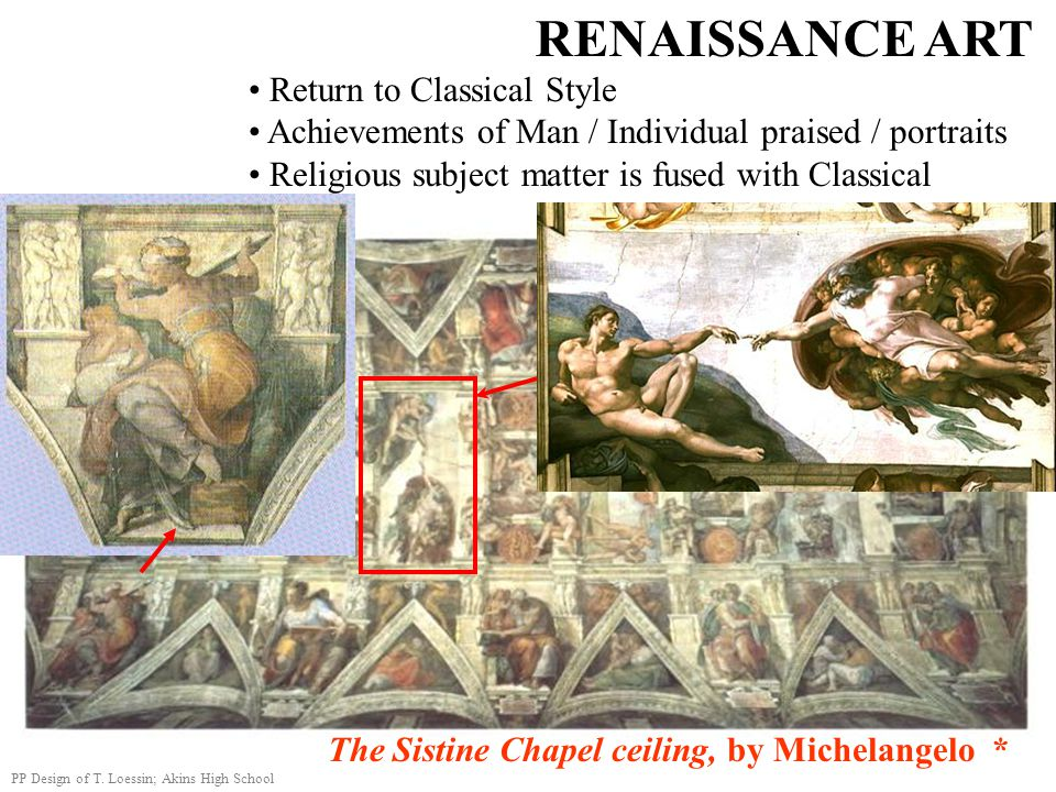 RENAISSANCE ART Return to Classical Style Achievements of Man / Individual praised / portraits Religious subject matter is fused with Classical The Si
