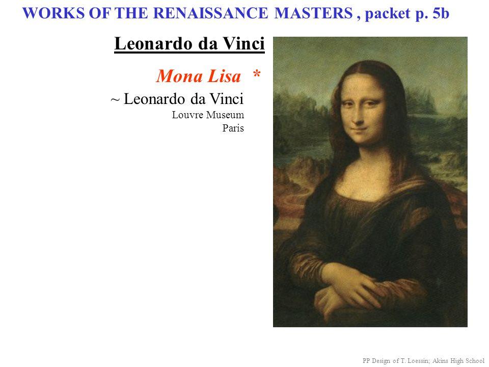 WORKS OF THE RENAISSANCE MASTERS, packet p. 5b ~ Leonardo da Vinci Louvre Museum Paris Mona Lisa * PP Design of T. Loessin; Akins High School Leonardo