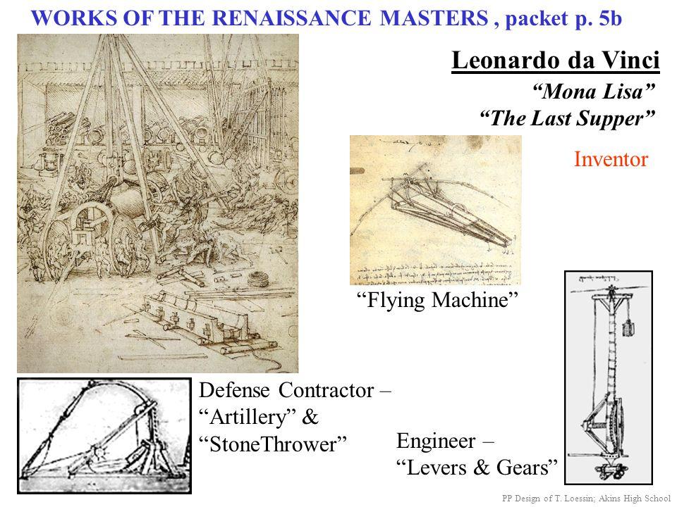 "WORKS OF THE RENAISSANCE MASTERS, packet p. 5b Leonardo da Vinci ""Mona Lisa"" ""The Last Supper"" Defense Contractor – ""Artillery"" & ""StoneThrower"" Engin"