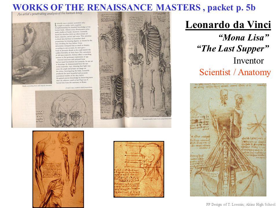 "WORKS OF THE RENAISSANCE MASTERS, packet p. 5b Leonardo da Vinci ""Mona Lisa"" ""The Last Supper"" Scientist / Anatomy Inventor PP Design of T. Loessin; A"
