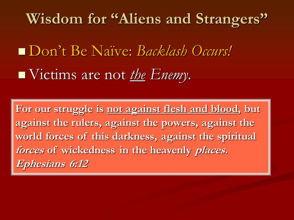 Wisdom for Aliens and Strangers Don't Be Naïve: Backlash Occurs.