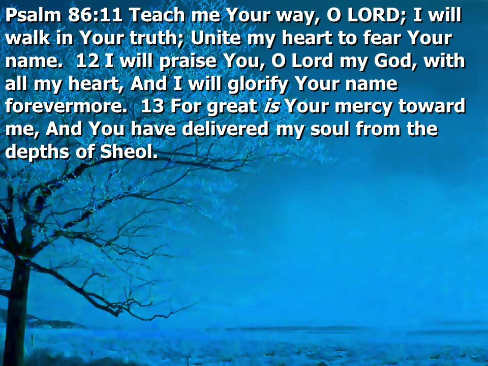 Psalm 86:11 Teach me Your way, O LORD; I will walk in Your truth; Unite my heart to fear Your name. 12 I will praise You, O Lord my God, with all my h