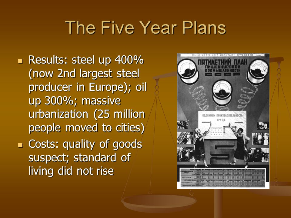 The Five Year Plans Results: steel up 400% (now 2nd largest steel producer in Europe); oil up 300%; massive urbanization (25 million people moved to c