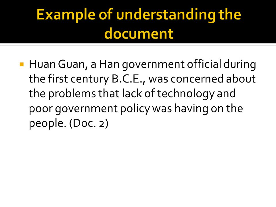  Huan Guan, a Han government official during the first century B.C.E., was concerned about the problems that lack of technology and poor government p