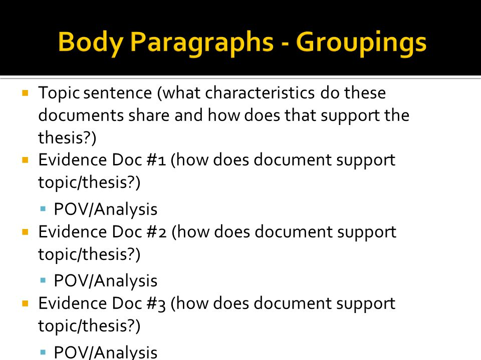  Topic sentence (what characteristics do these documents share and how does that support the thesis?)  Evidence Doc #1 (how does document support to