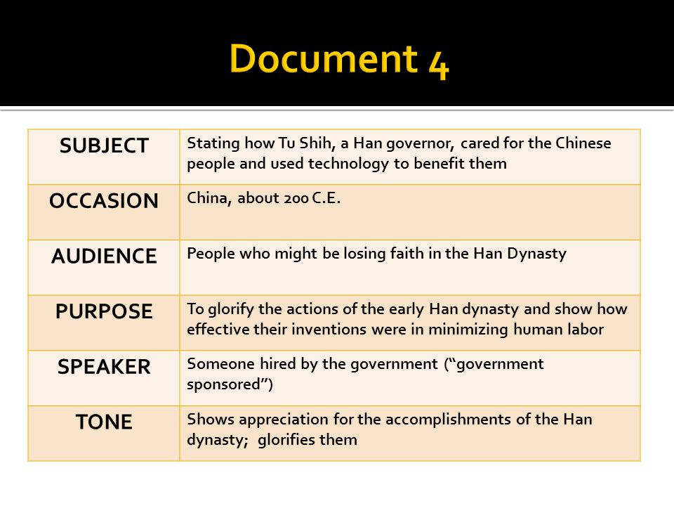 SUBJECT Stating how Tu Shih, a Han governor, cared for the Chinese people and used technology to benefit them OCCASION China, about 200 C.E. AUDIENCE