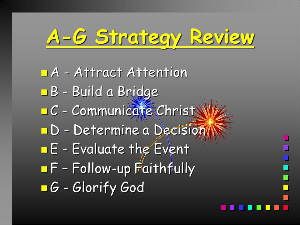 A-G Event Evangelism Strategy A-G Event Evangelism Strategy