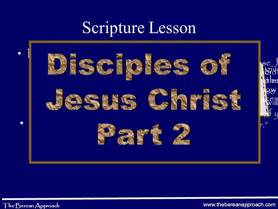 www.thebereanapproach.com The Berean Approach 1 Thessalonians 4:13-18 13 But I do not want you to be ignorant, brethren, concerning those who have fallen asleep, lest you sorrow as others who have no hope.