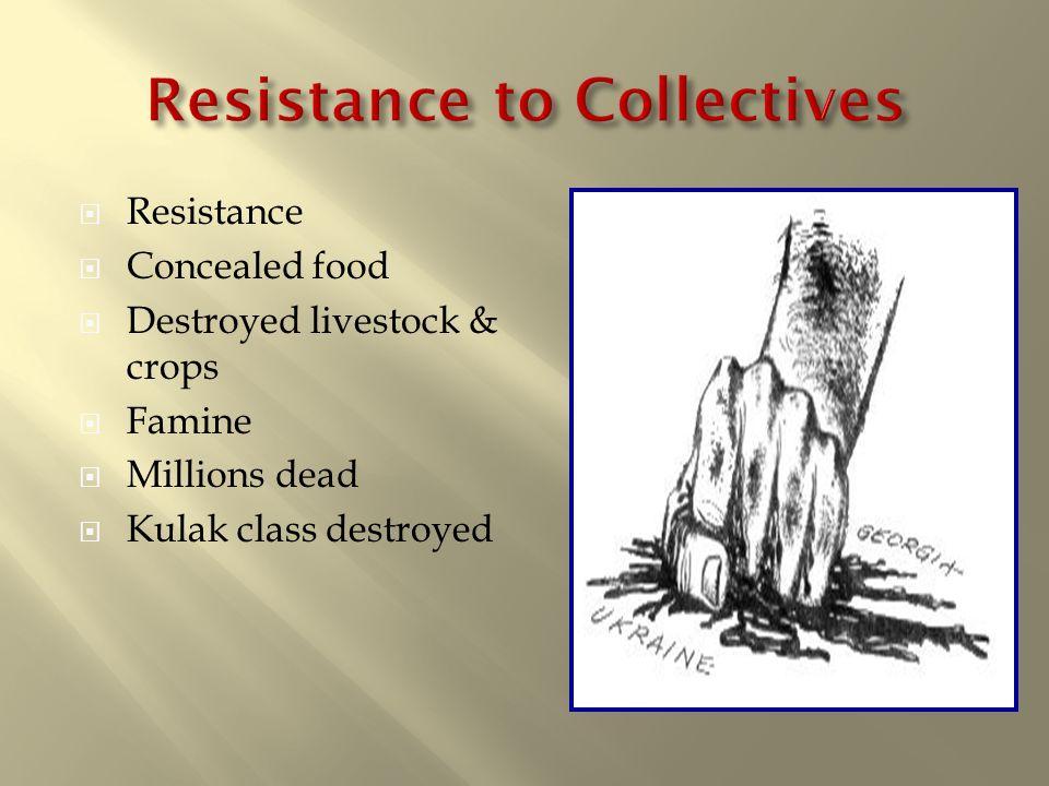  Resistance  Concealed food  Destroyed livestock & crops  Famine  Millions dead  Kulak class destroyed