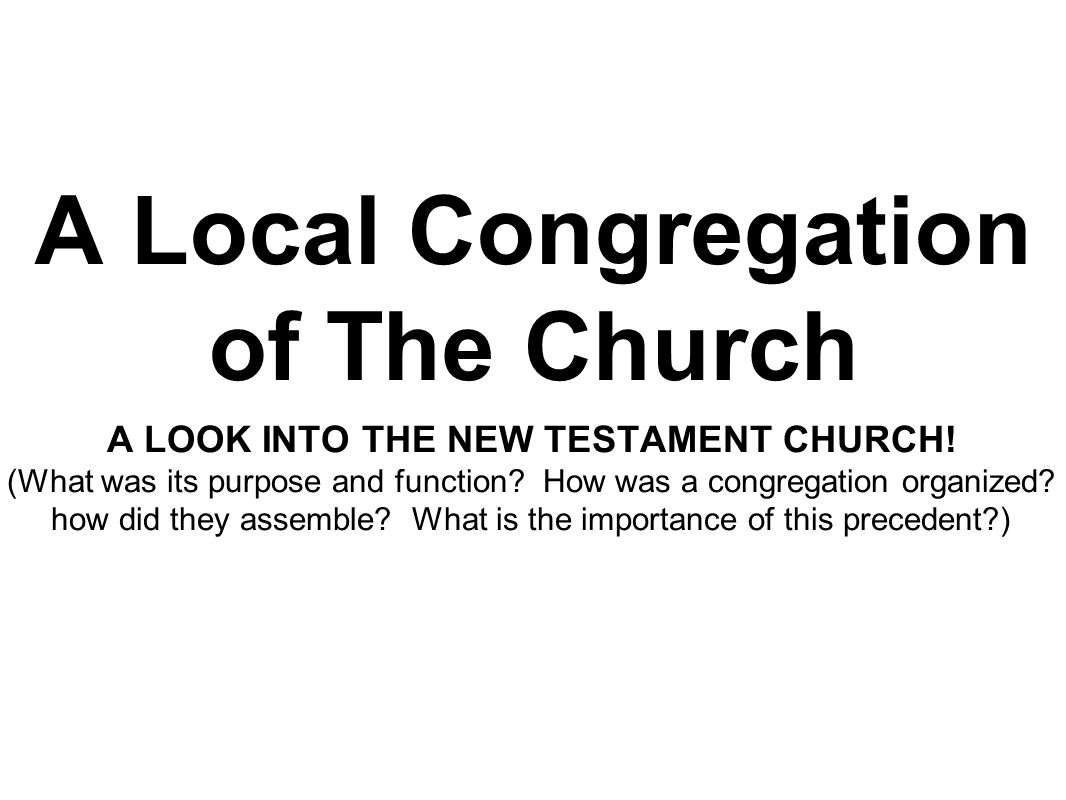 A Local Congregation of The Church A LOOK INTO THE NEW TESTAMENT CHURCH! (What was its purpose and function? How was a congregation organized? how did
