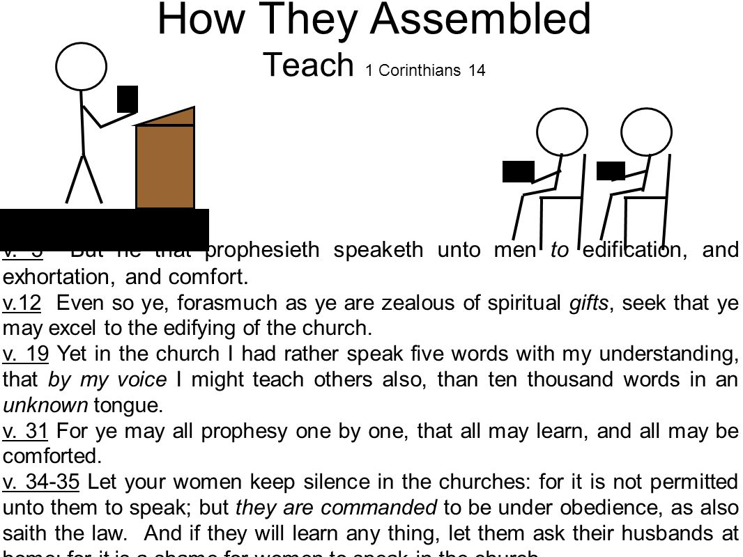 How They Assembled Teach 1 Corinthians 14 v.