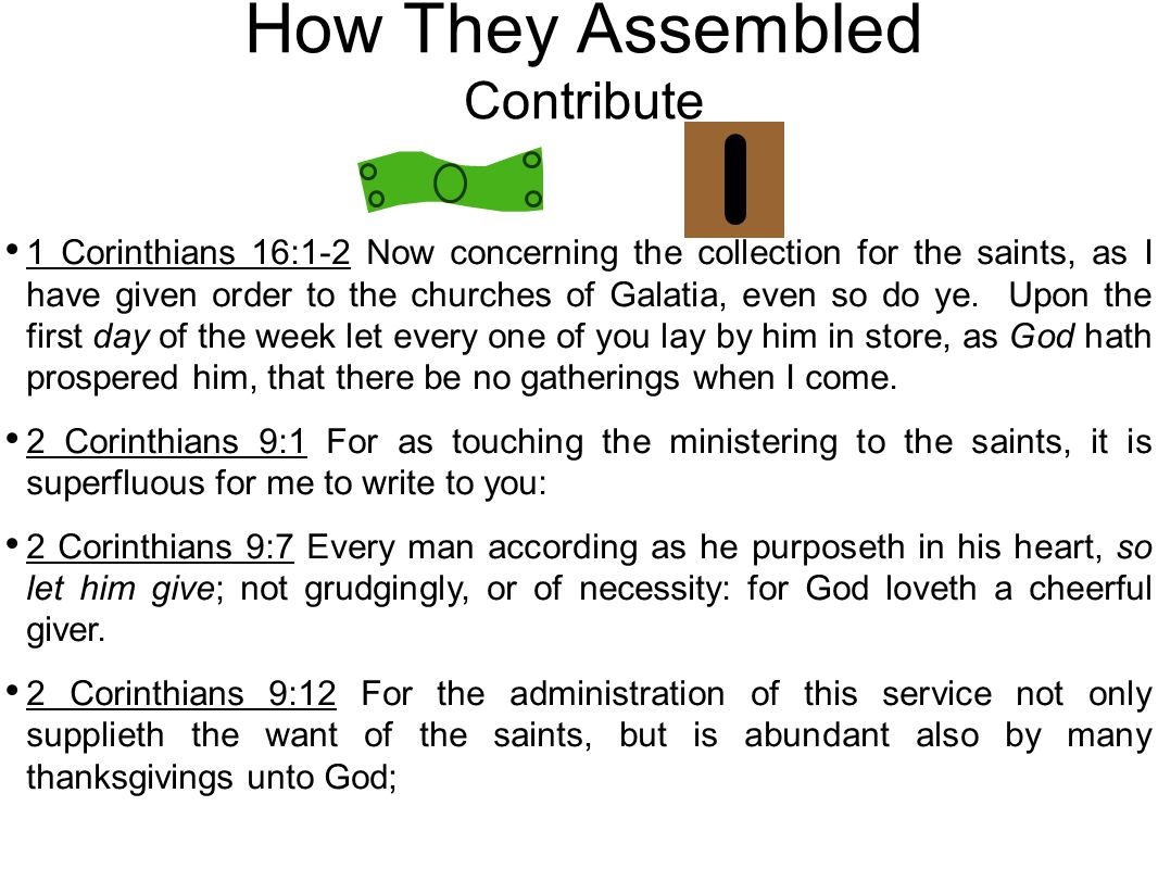 How They Assembled Contribute 1 Corinthians 16:1-2 Now concerning the collection for the saints, as I have given order to the churches of Galatia, even so do ye.