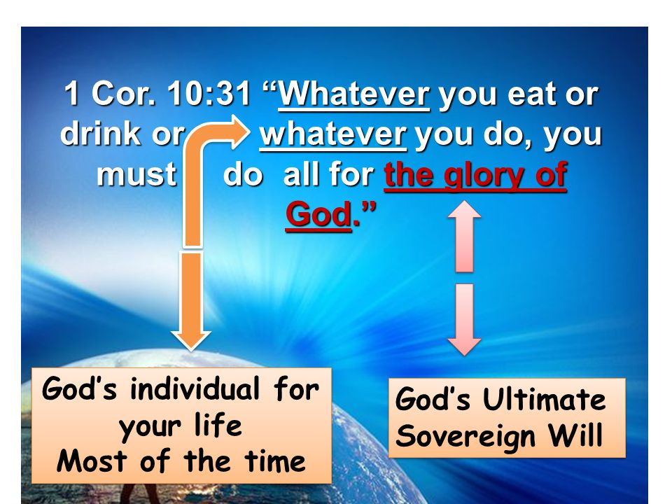 God's individual for your life Most of the time God's individual for your life Most of the time God's Ultimate Sovereign Will 1 Cor.