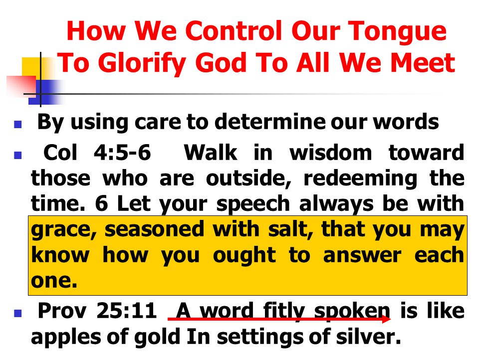 How We Control Our Tongue To Glorify God To All We Meet By using care to determine our words Col 4:5-6 Walk in wisdom toward those who are outside, redeeming the time.