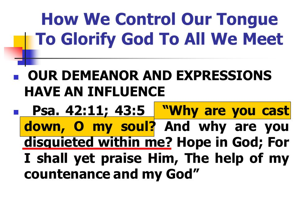 How We Control Our Tongue To Glorify God To All We Meet OUR DEMEANOR AND EXPRESSIONS HAVE AN INFLUENCE Psa.