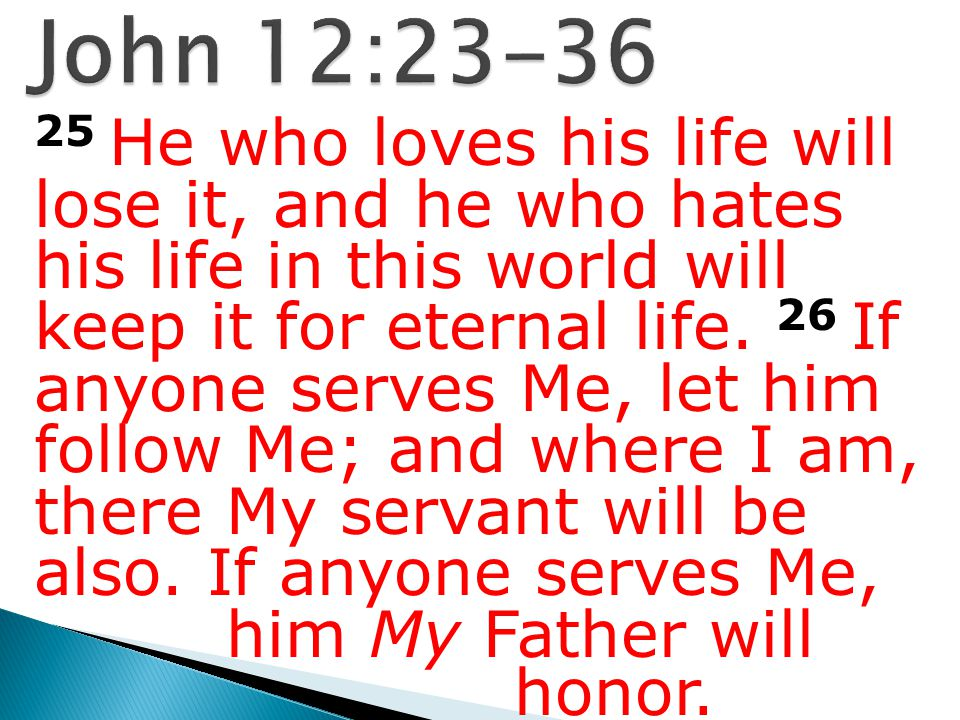 25 He who loves his life will lose it, and he who hates his life in this world will keep it for eternal life. 26 If anyone serves Me, let him follow M