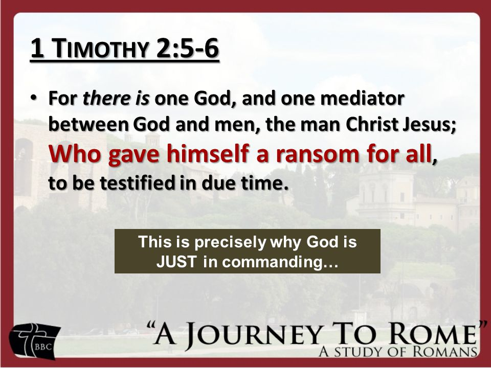 1 T IMOTHY 2:5-6 For there is one God, and one mediator between God and men, the man Christ Jesus; Who gave himself a ransom for all, to be testified